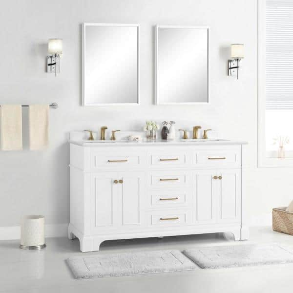 Home Decorators Collection Melpark 60 In W X 22 In D Bath Vanity In White With Cultured Marble Vanity Top In White With White Sink Melpark 60w The Home Depot