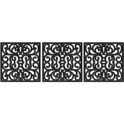 15 in. x 15 in. Black Stepping Tiles