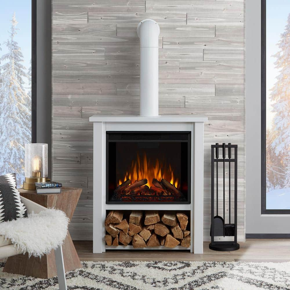 Real Flame Hollis 32 In Freestanding Electric Fireplace In White 5005e W The Home Depot