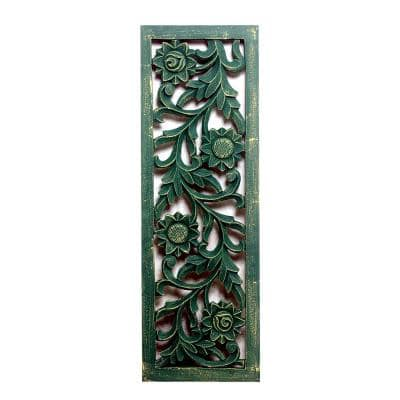 36 in. x 12 in. Carved Out Distressed Forest Green Wood Panel