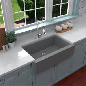 Farmhouse/Apron-Front Quartz Composite 34 in. Single Bowl Kitchen Sink in Grey