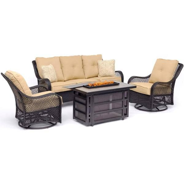 Hanover Orleans 4 Piece Wicker Patio Seating Set With Fire Pit Table Sahara Sand Cushions Orl4pcrecfp Tan The Home Depot