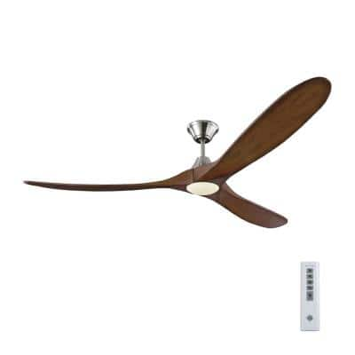Maverick Max LED 70 in. Integrated LED Indoor/Outdoor Brushed Steel Ceiling Fan with Koa Blades with Remote Control