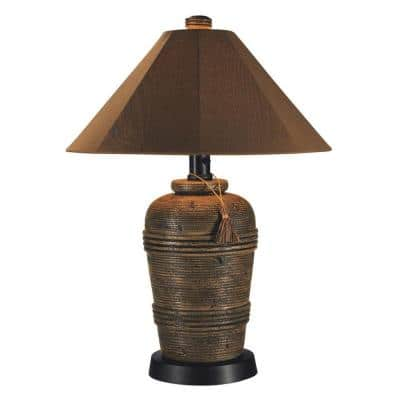 Canyon 34.5 in. Cocoa Outdoor Table Lamp with Sunbrella Shade