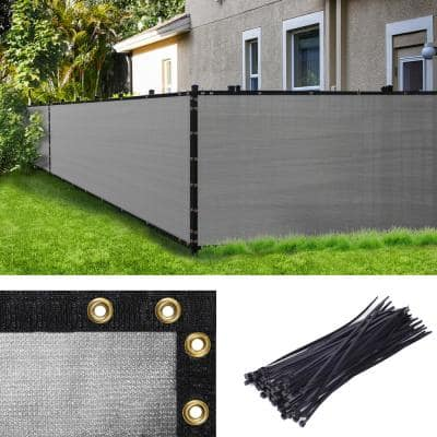 6 ft. H x 50 ft. W Gray Fence Outdoor Privacy Screen with Black Edge Bindings and Grommets