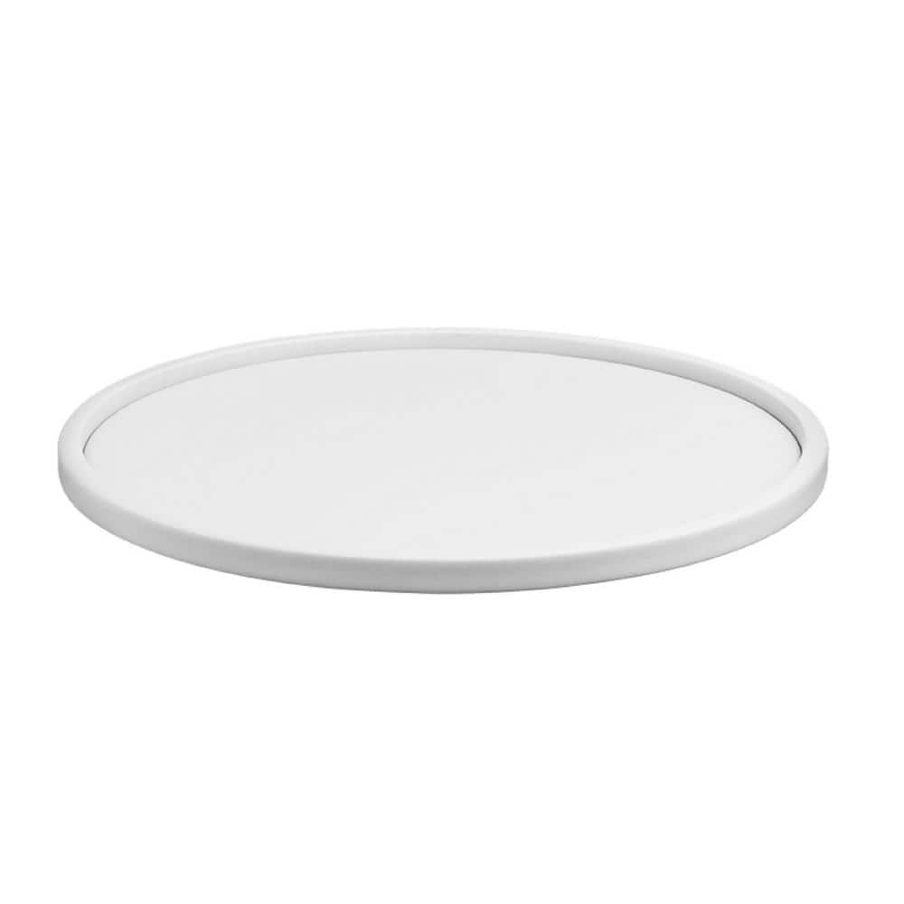 Kraftware Contempo 14 In Round Serving Tray In White 51632 The Home Depot