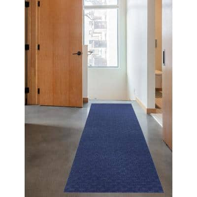 Marathon Cut to Size Blue Color 26 inches Width x Your Choice Length Custom Size Slip Resistant Runner Rug