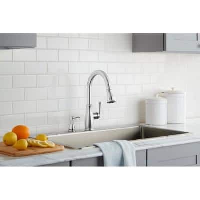 Kagan Single-Handle Pull-Down Sprayer Kitchen Faucet with Soap Dispenser in Stainless Spot Resistant