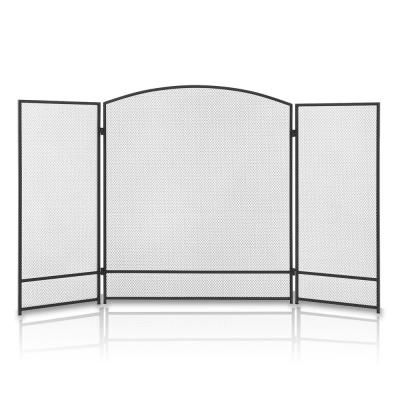 3-Panel Folding Panel Wrought Mesh Spark Guard Protector Gate Fireplace Screen