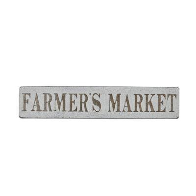 36.5 in. x 10 in. Rectangular Metal FARMERS MARKET Farmhouse Wall Decor Sign