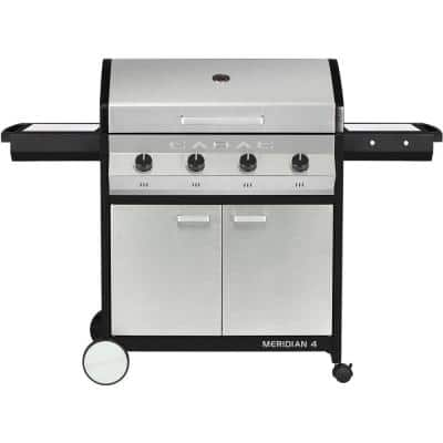 Meridian 4-Burner Propane Gas BBQ Grill in Stainless Steel with 2-Door Cart and Side Tables