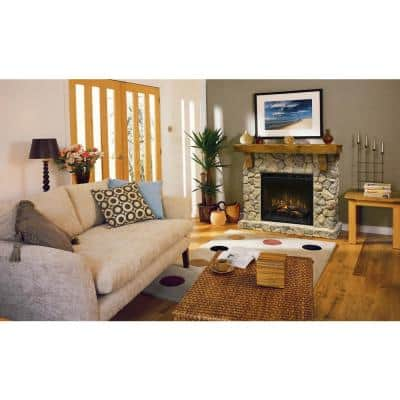 Fieldstone 55 in. Freestanding Mantel with 28 in. Electric Fireplace with Logs in Natural