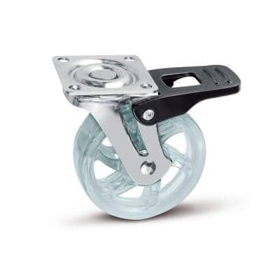 2-15/16 in. Clear Swivel with Brake Plate Caster, 88.2 lb. Load Rating