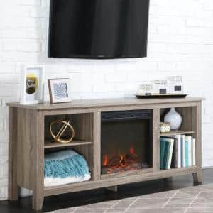 58 in. Rustic Farmhouse Fireplace TV Stand - Driftwood