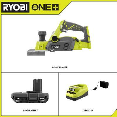 ONE+ 18V Cordless 3-1/4 in. Planer with 2.0 Ah Battery and Charger