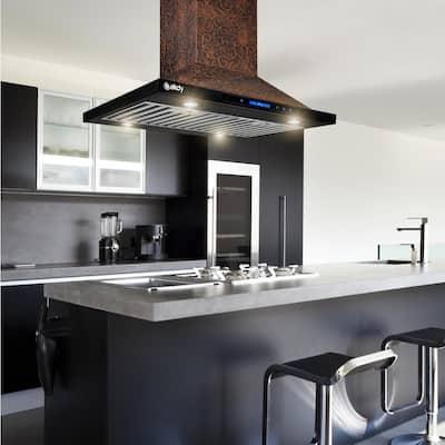 30 in. Convertible Island Mount in Embossed Copper Vine Design Kitchen Range Hood with Lights