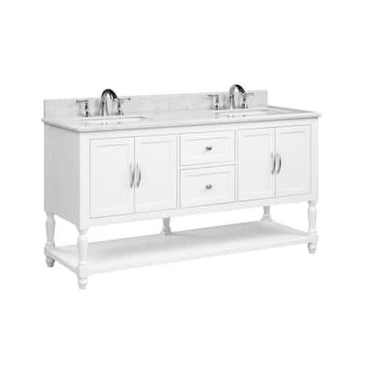 Harding 61 in. W x 22 in. D x 34.50 in. H Bath Vanity in White with Italian Carrara Vanity Top in White with White Basin