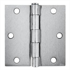 3.5 in. x 3.5 in. Brushed Chrome Plain Bearing Steel Hinge (Set of 2)