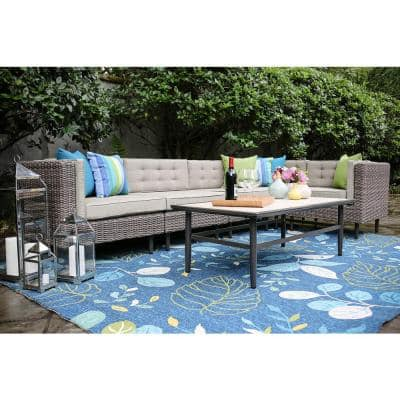 Aimee 6-Piece Wicker Patio Sectional Seating Set with Cast-Ash Cushions