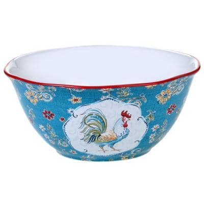 Morning Bloom 11 in. Multicolored Deep Bowl