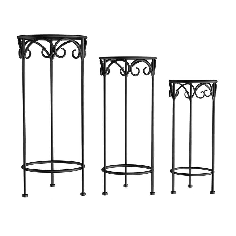 Pure Garden Black Metal Decorative Round Nesting Plant Stands Set Of 3 Hw1500182 The Home Depot