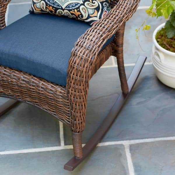 Hampton Bay Cambridge Brown Wicker, Outdoor Patio Furniture With Glider Chairs
