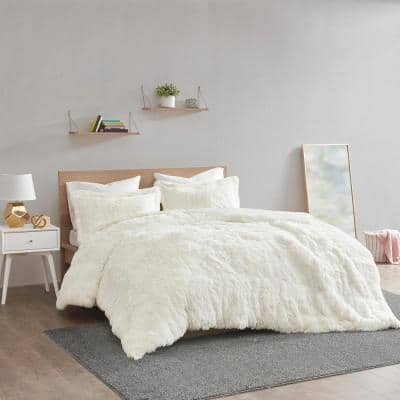 Leena 3-piece Ivory King Shaggy Fur Duvet Cover Set