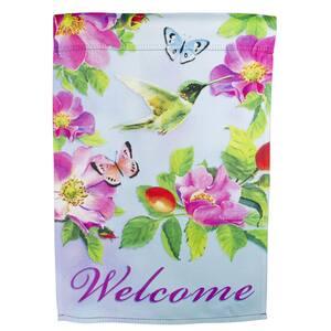 12.5 in. x 18 in. Welcome Hummingbird Floral Outdoor Garden Flag
