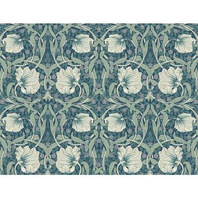 40.5 sq. ft. Teal & Sandstone Pimpernel Floral Vinyl Peel and Stick Wallpaper Roll