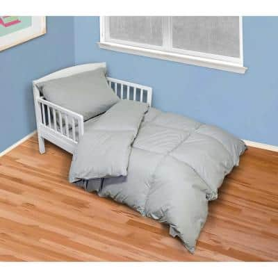 4-Piece Cool Gray Twin Toddler Bed Set
