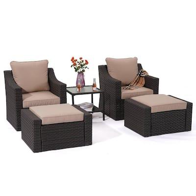 CASAINC 5-pcs Wicker Outdoor Rattan Furniture Sectional Set with CushionGuard Beige Cushions