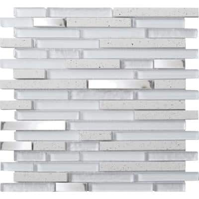 Quartz Linear White 12.05 in. x 11.93 in. Linear Joint Polished Quartz and Metal Mosaic Wall Tile (0.97 sq. ft./Each)