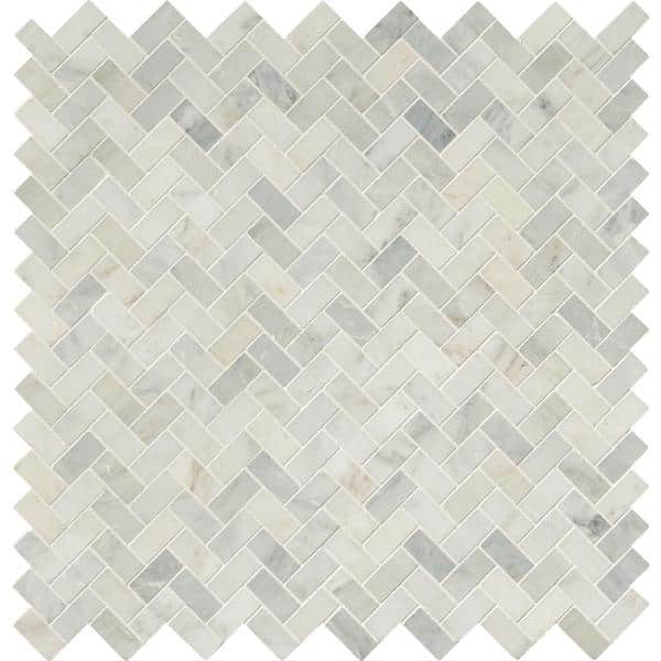 Msi Arabescato Carrara Herringbone Pattern 12 In X 12 In X 10 Mm Honed Marble Mesh Mounted Mosaic Tile 10 Sq Ft Case Smot Ara Hbh The Home Depot
