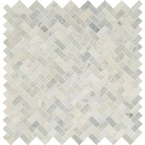 Arabescato Carrara Herringbone 12 in. x 12 in. x 10 mm Honed Marble Mosaic Tile (10 sq. ft. / case)