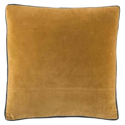 Laina Solid Gold/ Navy Down Throw Pillow 18 inch