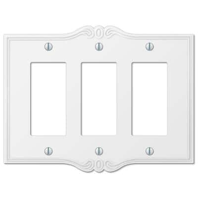 Charleston 3 Gang Rocker Composite Wall Plate - White