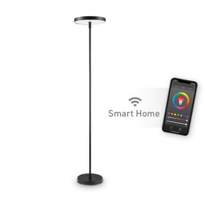 36-Watt Wi-Fi Smart Black Multicolor Changing RGB Tunable White LED Integrated Floor Lamp, No Hub Required