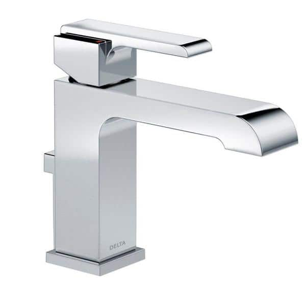 Delta Ara Single Hole Single Handle Bathroom Faucet With Metal Drain Assembly In Chrome 567lf Mpu The Home Depot