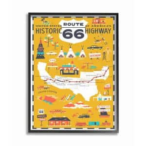 16 in. x 20 in. ''US Route 66 Historic Highway Mustard Yellow Illustrated Scenic Map Poster'' by Vestiges Framed Wall Art