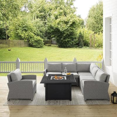Bradenton 5-Piece Wicker Patio Fire Table Seating Set with Gray Cushions