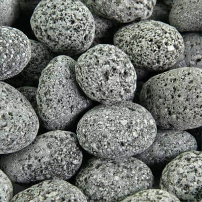 10 lbs. of Black 2 in. to 4 in. Round Lava Rock - Fire Rock for Fire Pits and Fireplaces