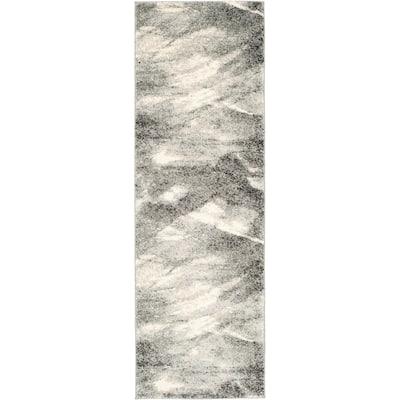 Retro Grey/Ivory 2 ft. x 9 ft. Runner Rug