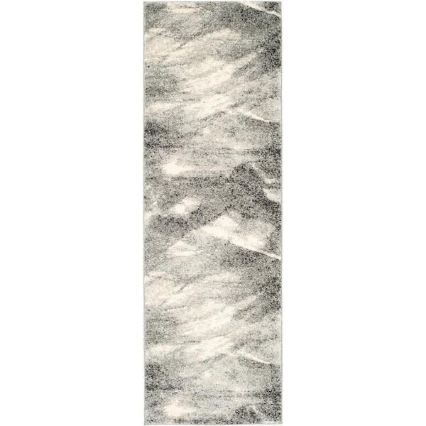 Safavieh Retro Grey Ivory 2 Ft X 9 Ft Runner Rug Ret2891 8012 29 The Home Depot