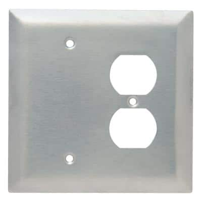 Pass & Seymour 302/304 S/S 2 Gang 1 Box Mounted Blank 1 Duplex Oversized Wall Plate, Stainless Steel (1-Pack)