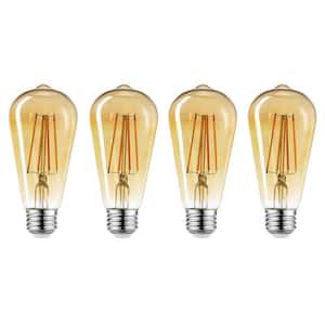 60-Watt Equivalent ST19 Dimmable Vintage Edison Amber Glass LED Light Bulb Soft White (4-Pack) (2150K)