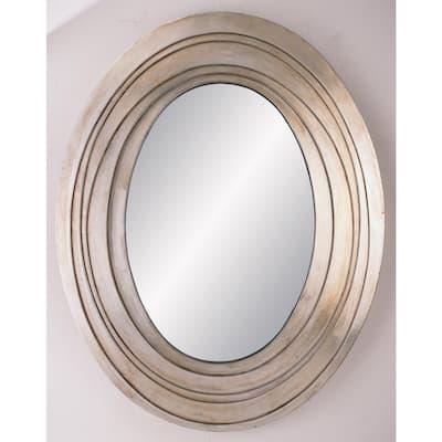 Medium Oval Silver Classic Mirror (24.75 in. H x 31.5 in. W)