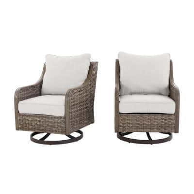 Windsor Brown Wicker Outdoor Patio Swivel Dining Chair with CushionGuard Chalk White Cushions (2-Pack)