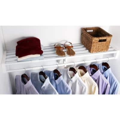 Expandable Closet Shelf & Rod 64 in. W - 118 in. W, White,Mounts to 2 Side Walls (NO End Brackets), Wire, Closet System