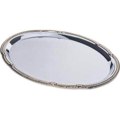 Celebration 17.75 in. x 12.87 in. Silver Carbon Oval Tray with Gold Border (12-Pack)