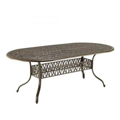 Capri Taupe Tan Brown Oval Cast Aluminum Outdoor Dining Table